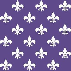 One Inch White Fleur-de-lis on Ultra Violet Purple