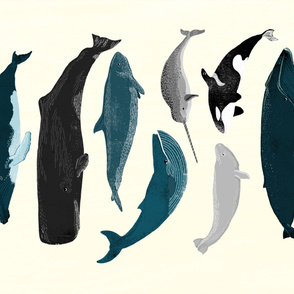 whale tea towel // whole yard cut whales fabric ocean marine life
