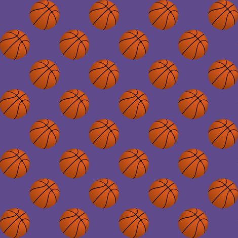 One Inch Basketball Balls on Ultra Violet Purple fabric by mtothefifthpower on Spoonflower - custom fabric