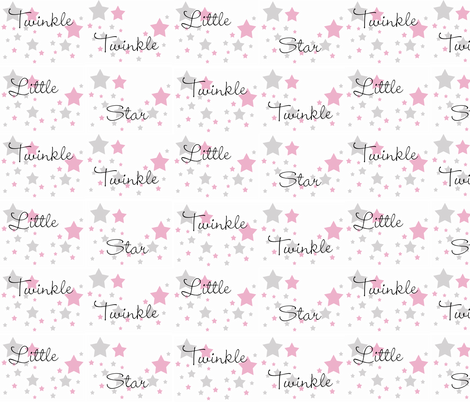 Pink Twinkle Little Star Gray Grey fabric by decamp_studios on Spoonflower - custom fabric