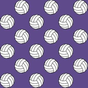 One Inch Black and White Sports Volleyball Balls on Ultra Violet Purple