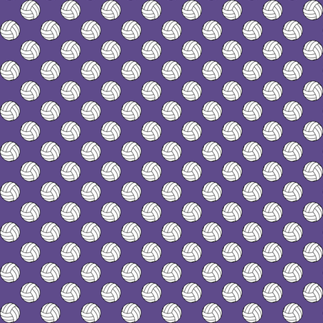 Half Inch Black and White Sports Volleyball Balls on Ultra Violet Purple fabric by mtothefifthpower on Spoonflower - custom fabric