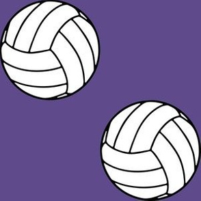 Three Inch Black and White Sports Volleyball Balls on Ultra Violet Purple