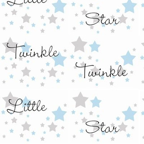 Baby Blue Twinkle Little Star Gray Grey