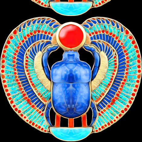 ancient egypt egyptian myths mythology legends gold sun solar disk royalty colorful wings scarab beetles dung insects imperial king tut Tutankhamun  royal lapis lazuli pharaoh fabric by raveneve on Spoonflower - custom fabric
