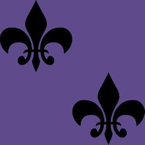 Three Inch Black Fleur-de-lis on Ultra Violet
