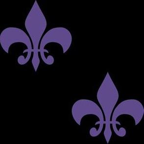 Three Inch Ultra Violet Purple Fleur-de-lis on Black