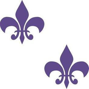 Three Inch Ultra Violet Purple Fleur-de-lis on White