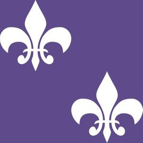 Three Inch White Fleur-de-lis on Ultra Violet