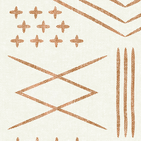 vintage moroccan (large scale) - bone and  dark maple (90) fabric by littlearrowdesign on Spoonflower - custom fabric