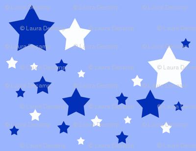 Stars White Blue Sky Navy