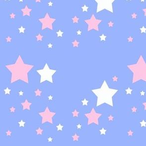 Pink White Stars Sky Blue