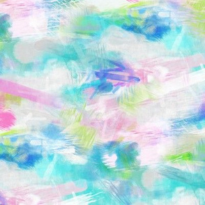 Watercolour Abstract Paint Strokes Blue Mint Green Pink
