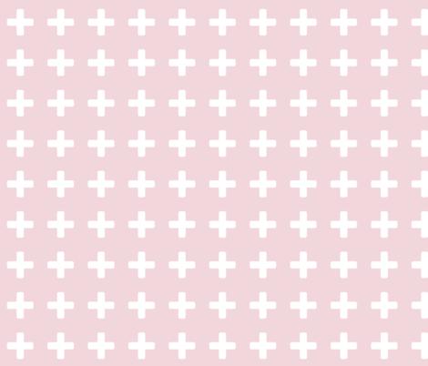 White Cross Baby Pink fabric by brainsarepretty on Spoonflower - custom fabric