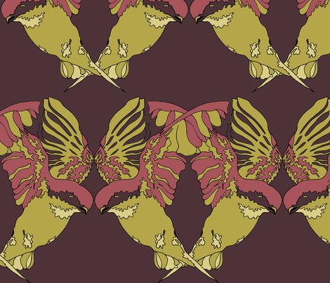 Butterflies and Birds in Pink  fabric by blink_on_my_nose_ on Spoonflower - custom fabric