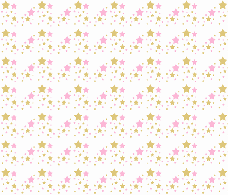 Pink Gold Star Girl Nursery Fabric By Decamp Studios On Spoonflower