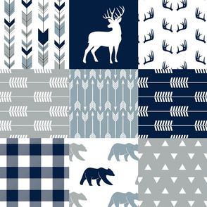 Woodland Wholecloth (buck and bear)   - plaid