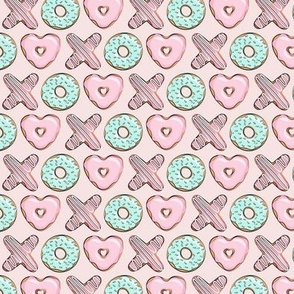 "1"" - XO heart shaped donuts - valentines pink & mint on pink - valentines day"