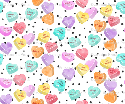 (small scale) valentines day heart candy - conversation hearts  on spots