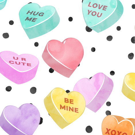 (jumbo scale) valentines day heart candy - conversation hearts  on spots  fabric by littlearrowdesign on Spoonflower - custom fabric