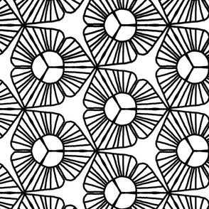 BIG Black and White  Abstract Trillium Flower  large scale _ Miss Chiff Designs