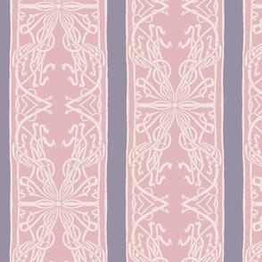 Hand Drawn Art Nouveau Pink & Purple Border