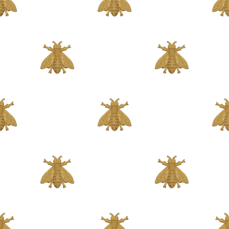 Napoleonic Bees ~ Faux  Gilt on White  fabric by peacoquettedesigns on Spoonflower - custom fabric