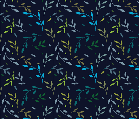 vine pattern - navy fabric by t_oneill on Spoonflower - custom fabric