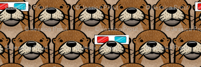 (micro scale) otters with 3D glasses