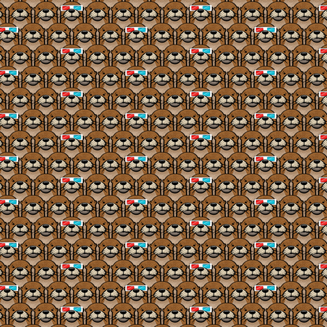 (micro scale) otters with 3D glasses fabric by littlearrowdesign on Spoonflower - custom fabric