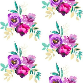"""Purple and Gold Floral Bouquet 3 4"""""""