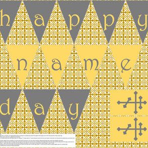 Cut-n-sew Name Day Banner in Grey and Gold