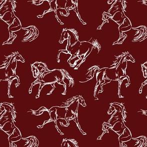 Horse Sketch // Burgundy