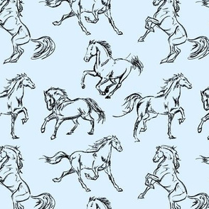 Horse Sketches // Light Blue