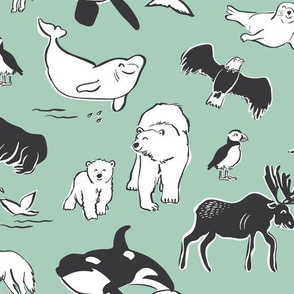 Arctic animals - mint small