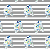 Nerdy Space Characters - R2D2 Dark Gray Stripes – Trendy Geek Fantasy Kids Room Bedding Sheets