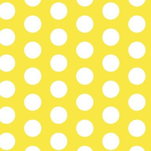 Lemon Sun Yellow White Large Polka Dot || Spots drops Miss Chiff Designs