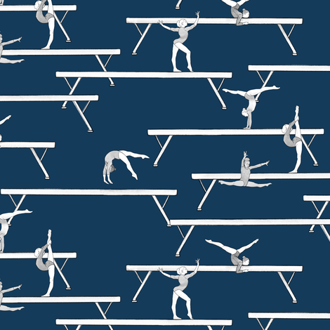 Balance Beam on Dark Blue fabric by landpenguin on Spoonflower - custom fabric