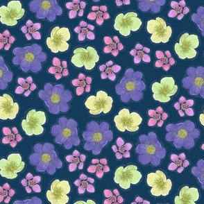 Arctic Flowers on Blue