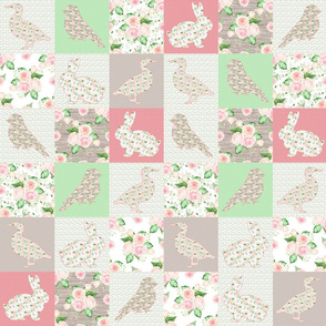"3"" pastel CHEATERQUILT FARM ANIMALS AND ROSES FLOWERS BABY PATCHWORK DUCK RABBIT GOOSE BIRD"