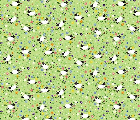 Meadow Sheep Ditsy fabric by lellobird on Spoonflower - custom fabric