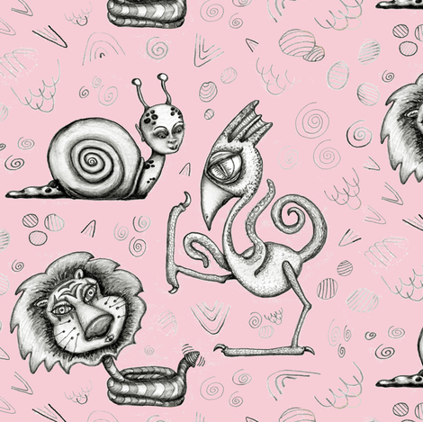 creature monster pink tattoo art, large scale, pink gray black white fabric by amy_g on Spoonflower - custom fabric