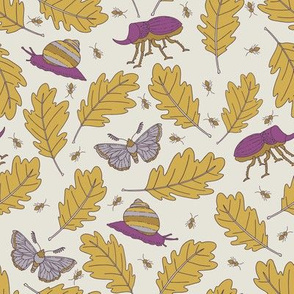Oak Leaves and Bugs - Purple