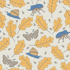 Oak Leaves and Bugs - Blue