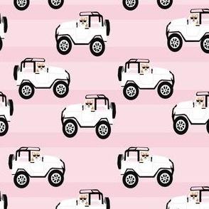 corgi cute corgi in cars fabric - corgi in cars - pink