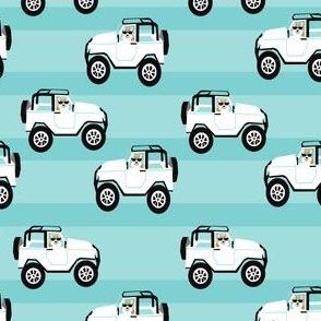 cute corgi in cars fabric - corgi in cars - blue