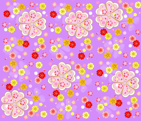 cherry blossoms fabric by ngefan on Spoonflower - custom fabric