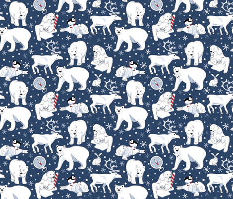 Arctic Animals blue fabric by colour_angel_by_kv on Spoonflower - custom fabric