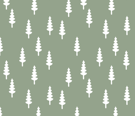 forest on sage fabric by littlearrowdesign on Spoonflower - custom fabric