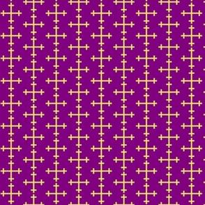 Gold Cross on Purple Large